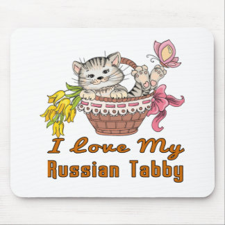 I Love My Russian Tabby Mouse Pad