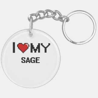 I love my Sage Double-Sided Round Acrylic Keychain