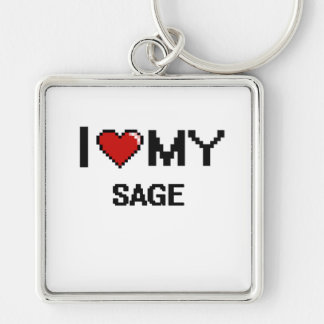 I love my Sage Silver-Colored Square Keychain
