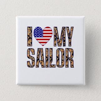 I Love My Sailor 2 Inch Square Button