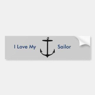 I Love My Sailor Anchor Bumper Sticker