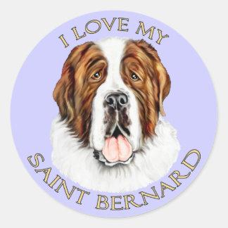 I Love my Saint Bernard Round Sticker