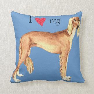 I Love my Saluki Throw Pillow
