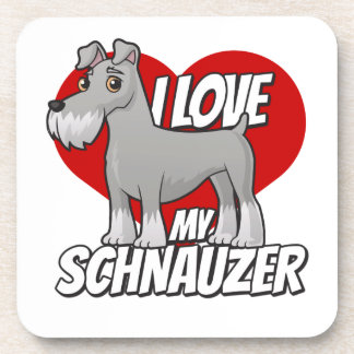 I Love My Schnauzer Drink Coaster