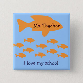 I Love My School Personalized Teacher Name Tag 2 Inch Square Button
