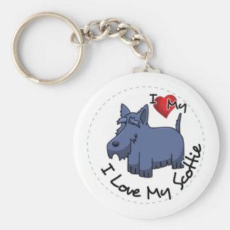 I Love My Scottie Dog Basic Round Button Keychain