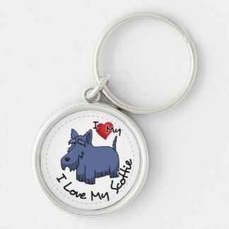 I Love My Scottie Dog Silver-Colored Round Keychain
