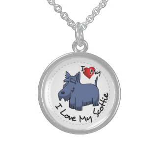 I Love My Scottie Dog Sterling Silver Necklace