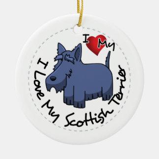 I Love My Scottish Terrier Dog Ceramic Ornament