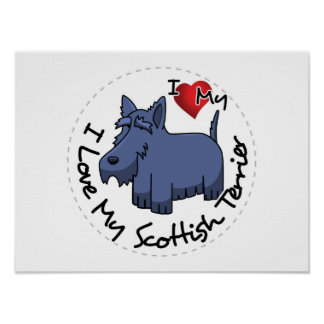 I Love My Scottish Terrier Dog Poster