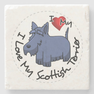 I Love My Scottish Terrier Dog Stone Coaster