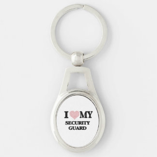 I love my Security Guard (Heart Made from Words) Silver-Colored Oval Keychain