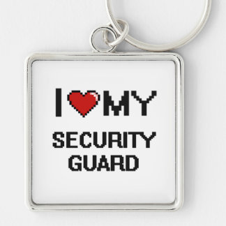 I love my Security Guard Silver-Colored Square Keychain