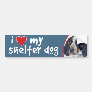 I Love My Shelter Dog Bluetick Coonhound Bumper Sticker