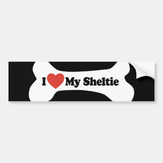 I Love My Sheltie - Dog Bone Bumper Sticker