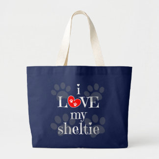 i LOVE my sheltie, paw prints/red Large Tote Bag