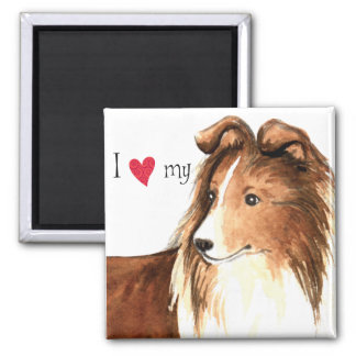 I Love my Sheltie Square Magnet