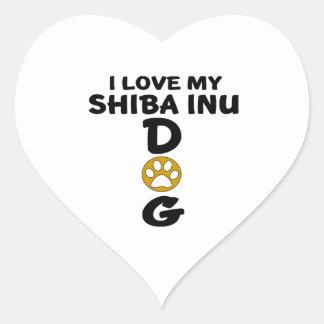 I Love My Shiba Inu Dog Designs Heart Sticker