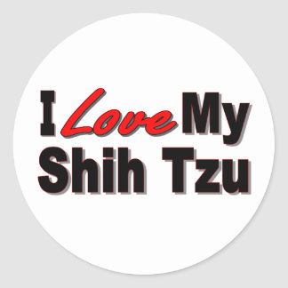 I Love My Shih Tzu Dog Gifts and Apparel Round Sticker