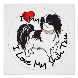 I Love My Shih Tzu Dog Poster
