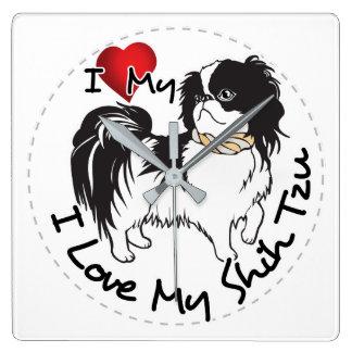 I Love My Shih Tzu Dog Square Wall Clock