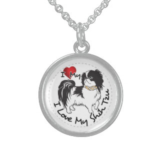 I Love My Shih Tzu Dog Sterling Silver Necklace