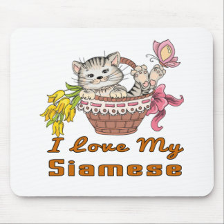 I Love My Siamese Mouse Pad