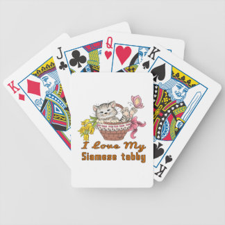I Love My Siamese tabby Bicycle Playing Cards