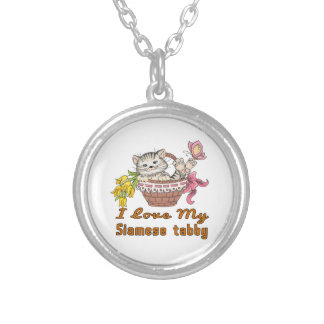 I Love My Siamese tabby Silver Plated Necklace