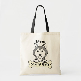 I Love My Siberian Husky Bags
