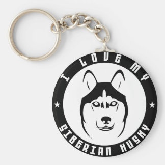 I LOVE MY SIBERIAN HUSKY Dog breed pet Basic Round Button Keychain