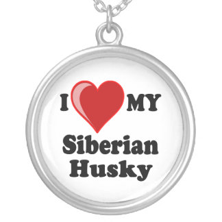I Love My Siberian Husky Necklace