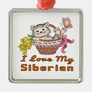 I Love My Siberian Metal Ornament