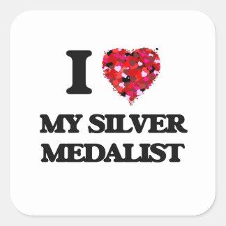 I Love My Silver Medalist Square Sticker