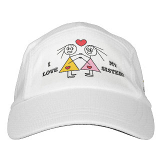 I LOVE MY SISTER Cute Stick Figure Girls Design Hat