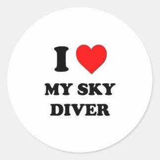 I love My Sky Diver Classic Round Sticker