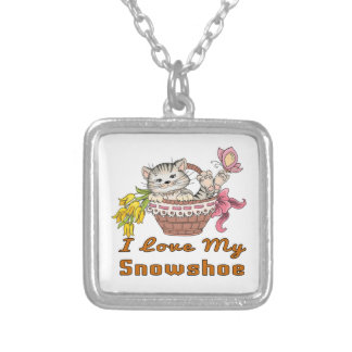 I Love My Snowshoe Silver Plated Necklace