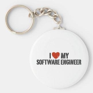 I Love My software Engineer Basic Round Button Keychain