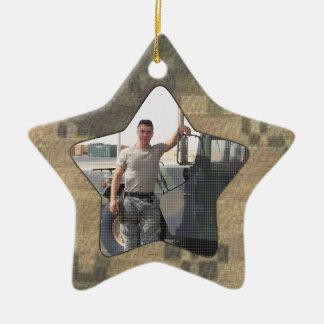 I Love My Soldier Military Personalized Photo Camo Ceramic Ornament