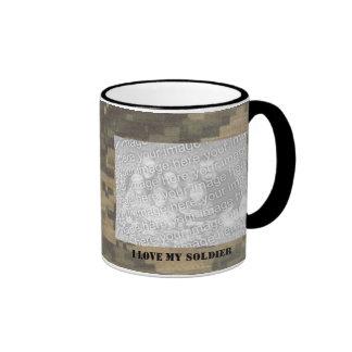I Love My Soldier Photo Camouflage Ringer Coffee Mug