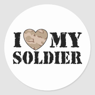 I Love My Soldier Stickers