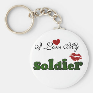 I Love My Soldier Tshirts and Gifts Basic Round Button Keychain