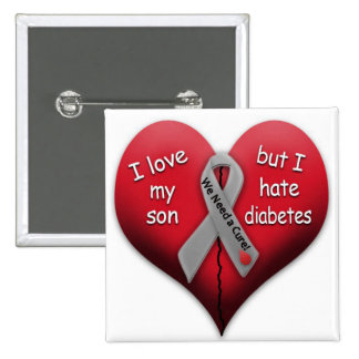 I love my son but I hate diabetes 2 Inch Square Button