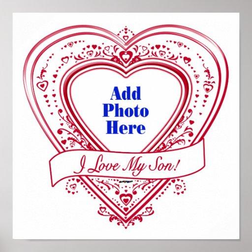 I Love My Son! Photo Red Hearts Print