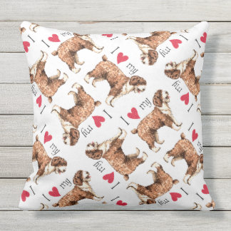 I Love my Spanish Water Dog Outdoor Pillow