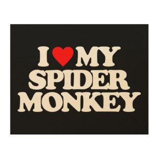 I LOVE MY SPIDER MONKEY WOOD PRINTS