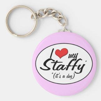 I Love My Staffy (It's a Dog) Basic Round Button Keychain
