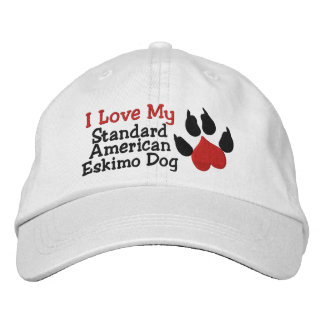 I Love My Standard American Eskimo Dog Paw Print Embroidered Hat