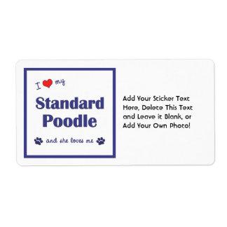 I Love My Standard Poodle (Female Dog) Shipping Label