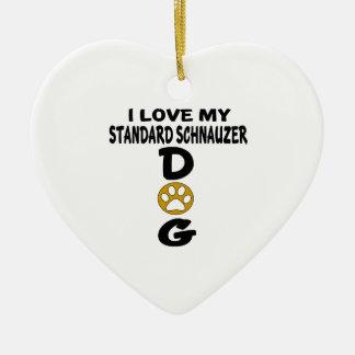 I Love My Standard Schnauzer Dog Designs Ceramic Heart Ornament